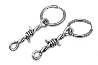 Silver Barbed Wire Hoops