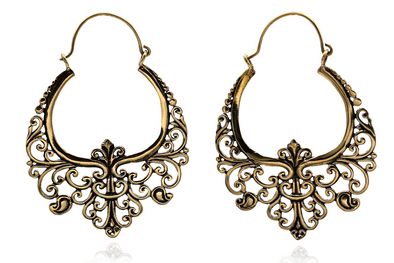 Floral Ornament Brass Hoops