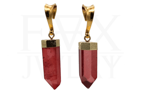 Golden Scarlet Crystal Ear Weights