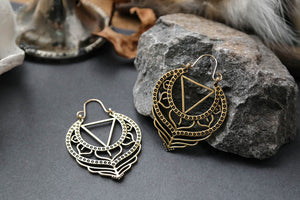 Golden Kali Yantra Hoops #BE40 - Fux Jewellery