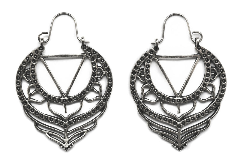 Silver Kali Yantra Hoops #BE40-S - Fux Jewellery