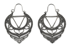 Silver Triangle Lotus Hoops #BE40-S