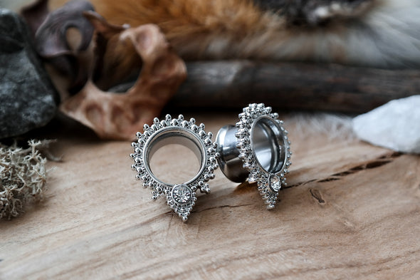Silver Beaded Crystal Tunnel #864 - Fux Jewellery