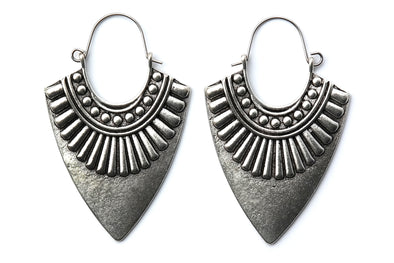 Silver Aztec Arrow Hoops #H46 - Fux Jewellery