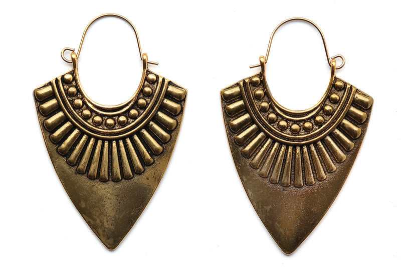 Golden Aztec Arrow Hoops #H47 - Fux Jewellery