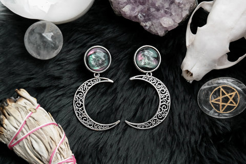Silver Nebula Moon Plugs | Fux Jewellery