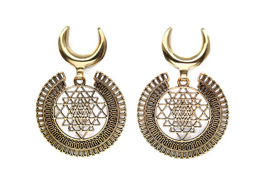 Golden Sri Yantra Saddle Hangers #EW15 - Fux Jewellery