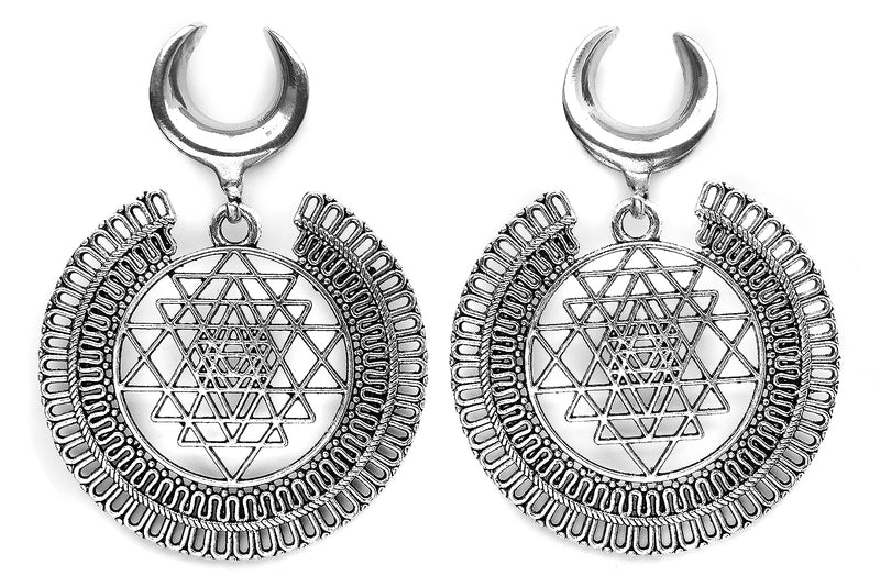 Silver Sri Yantra Ear Weights #EW15-S - Fux Jewellery