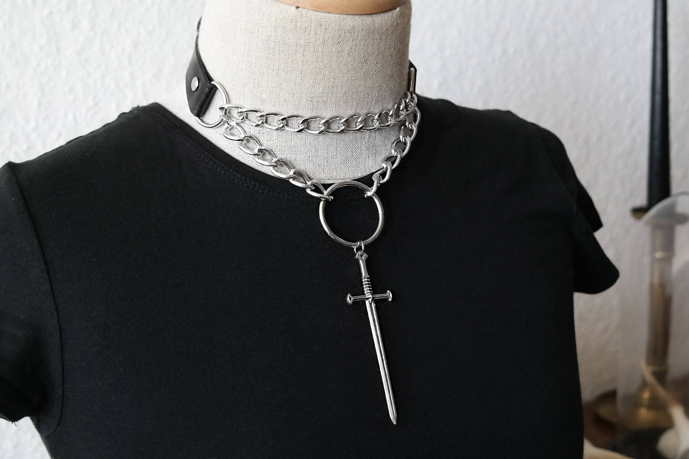 Black Battle Choker with Chains Sword | Fux Jewellery