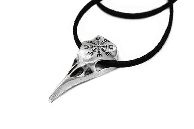 Helm of Awe Raven Skull Necklace #N77 - Fux Jewellery