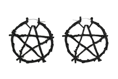 Black Branch Pentacle Hoops #BE43-B - Fux Jewellery