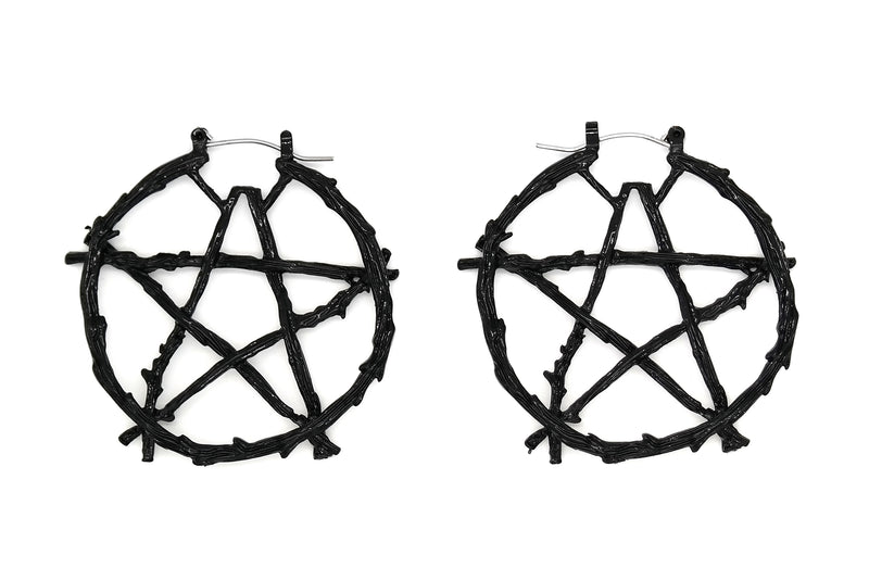 Black Branch Pentacle Hoops #BE43-B