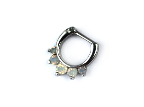 silver Septum Ring with Opalite Stones #S06