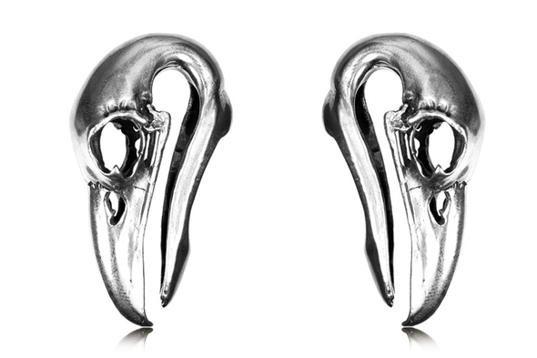 Silver Raven Skull Ear Weights #BH13-S - Fux Jewellery