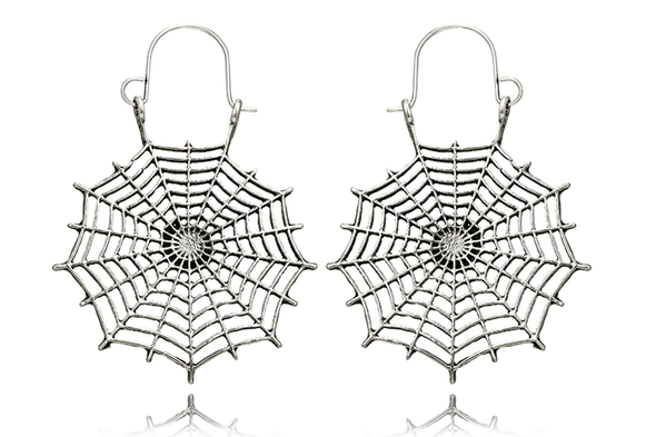 Silver Spiderweb Hoops #E46 - Fux Jewellery