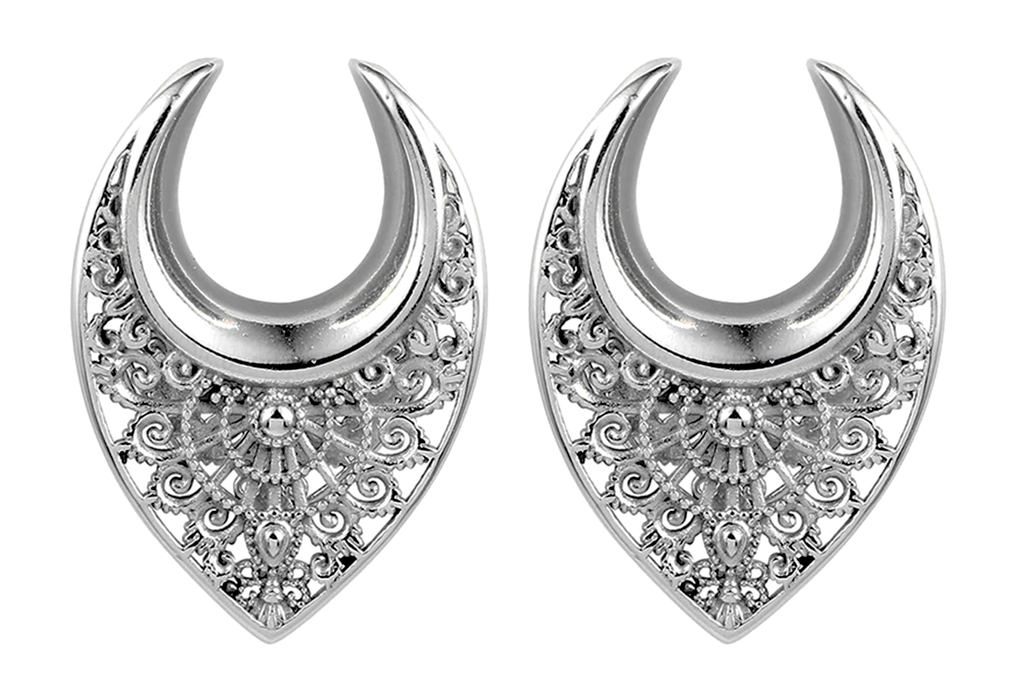 Silver Ornate Ear Hangers #EW33-S - Fux Jewellery