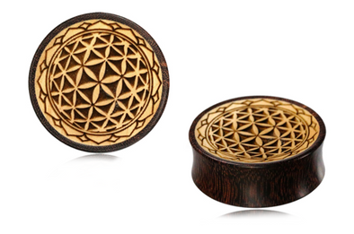 Wooden Flower of Life Plugs #832 - Fux Jewellery