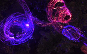 Side glow fibre in a woodland setting