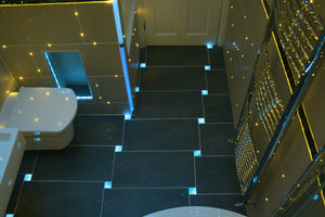 Bathroom featuring side-glow fibre