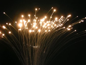 A spray of end glow optical fibre