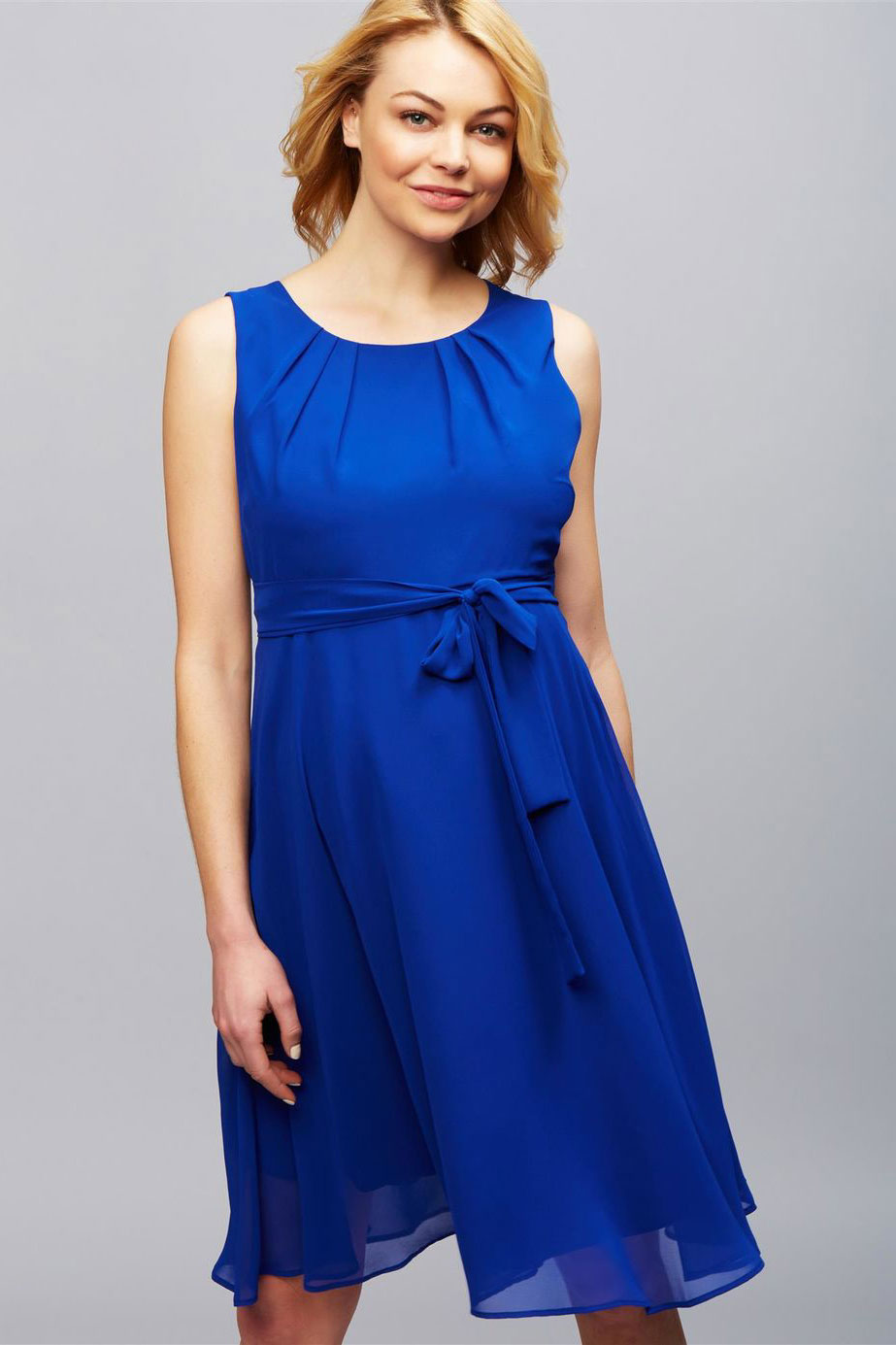 Isabella Chiffon Maternity Dress by Pietro Brunelli In Caspian Blue