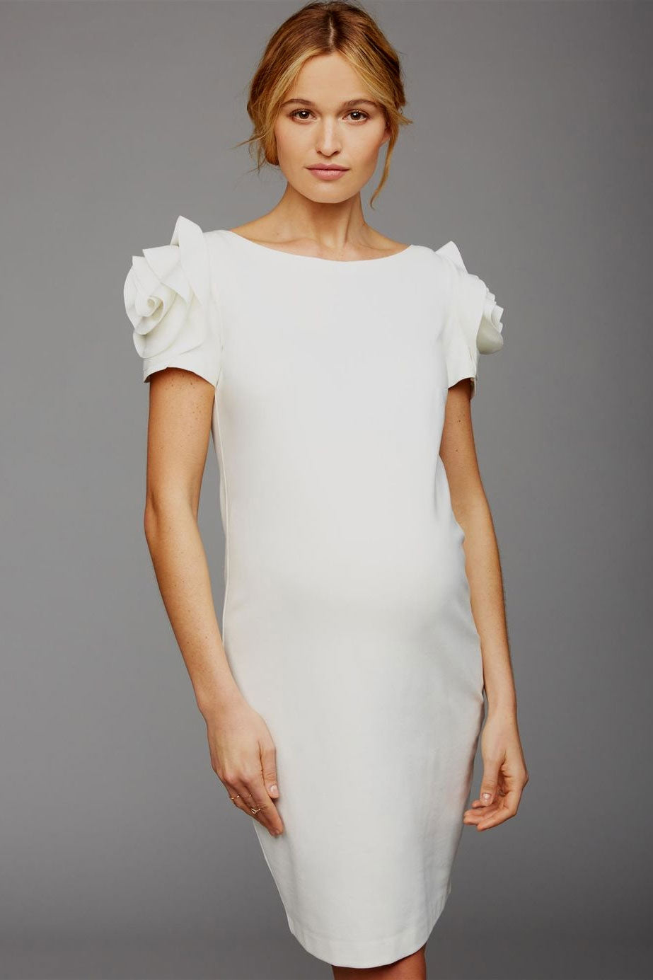 Pietro Brunelli Rose Sleeve Maternity Dress in Pure White