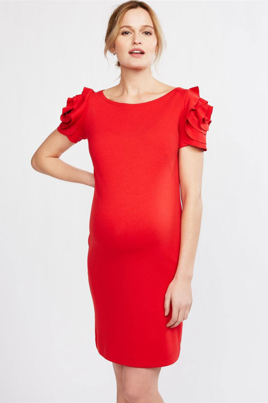 Pietro Brunelli Milano Flower Sleeve Maternity Dress in Passion Red