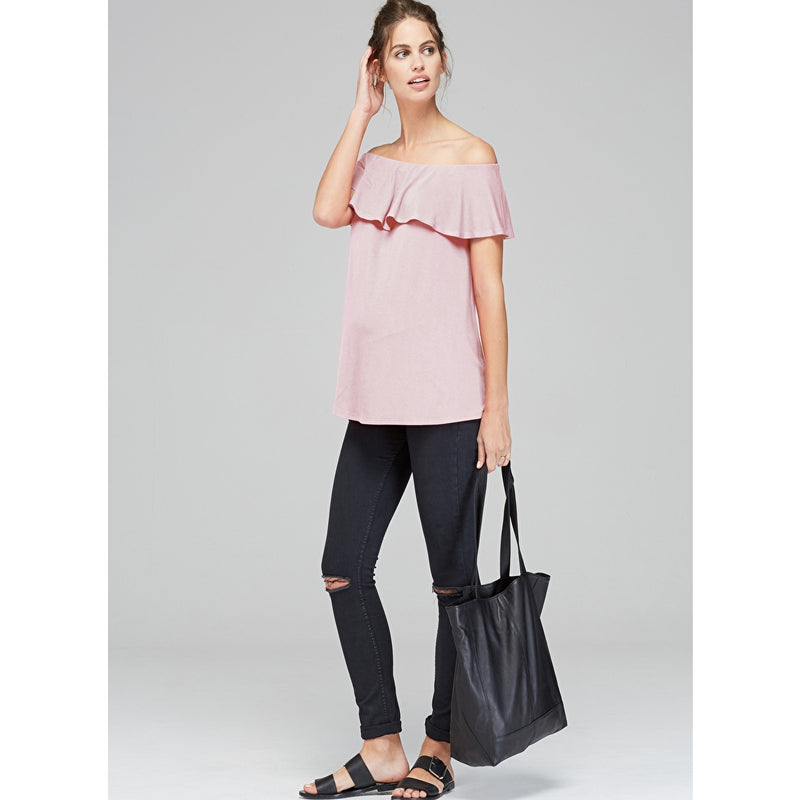 Isabella Oliver Mari Off Shoulder  Maternity Top in Blush - Seven Women Maternity
