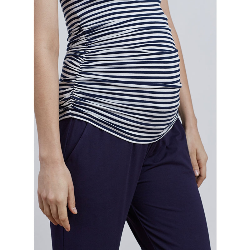 Isabella Oliver Striped Ruched Maternity Tee - Seven Women Maternity