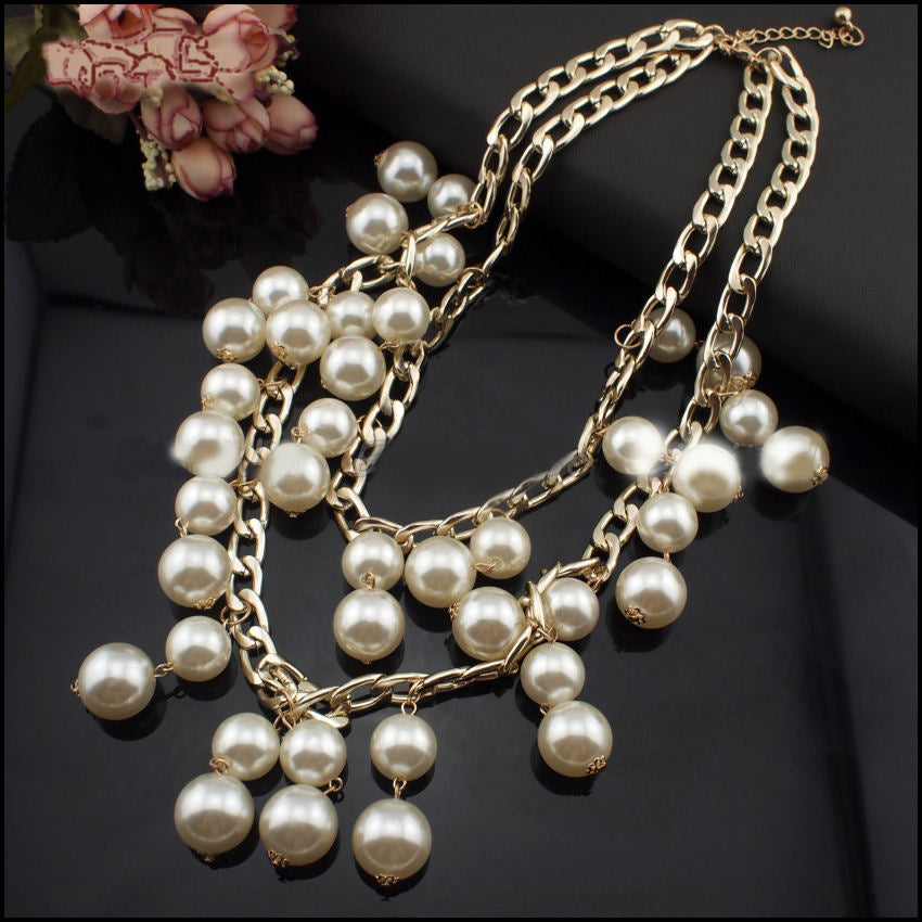 Pearls And Gold Chain Necklace As Seen On 2 Broke Girls