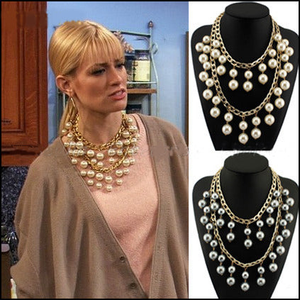 Pearls And Gold Chain Necklace As Seen On 2 Broke Girls - Seven Women Maternity