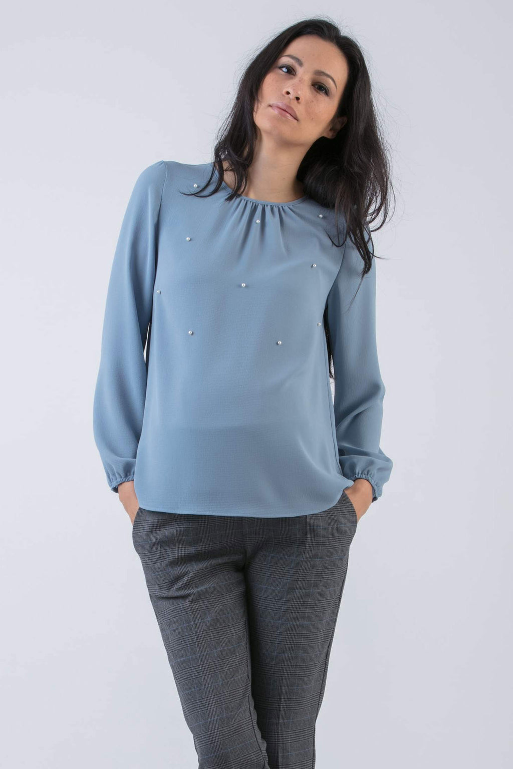 Talia Pearl Embellished Maternity Blouse in Slate Blue - Seven Women Maternity