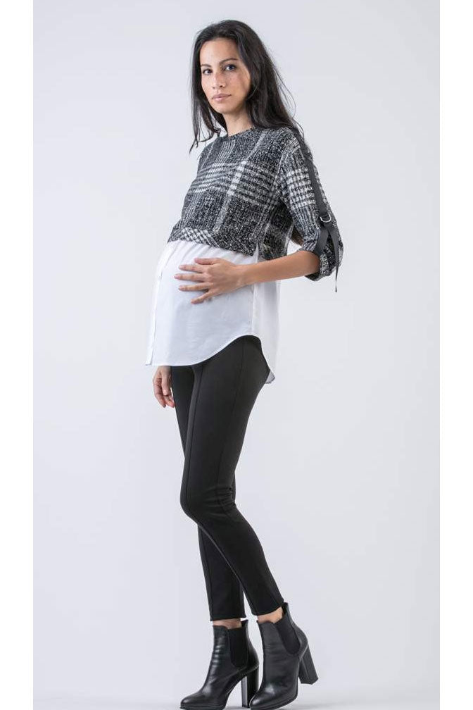 Gia Maternity Plaid Sweater Shirt made in Italy - Seven Women Maternity