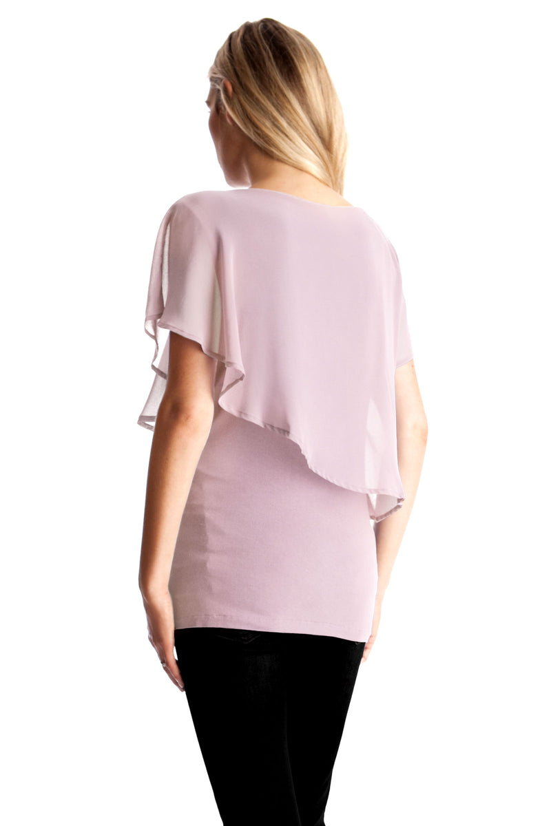 Seraphine Meredith Blush Pink Asymmetric Sheer Flutter Nursing Top - Seven Women Maternity