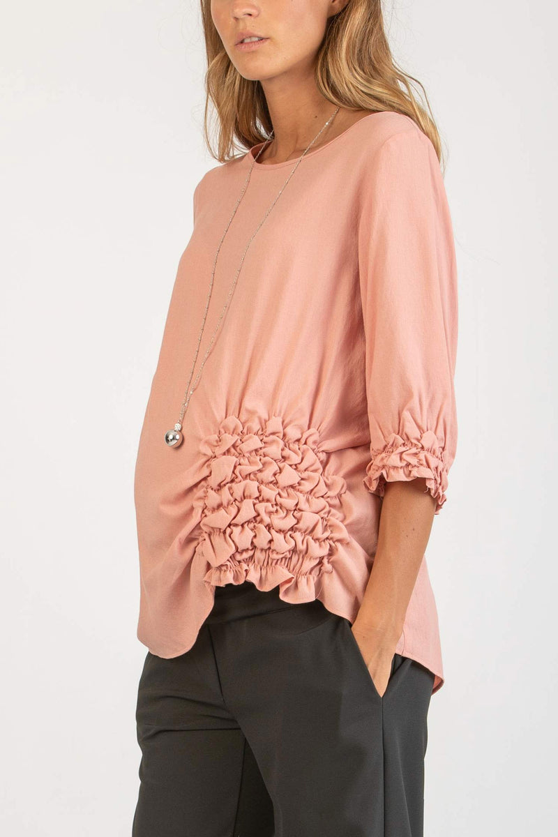 The Alyssa Side-Detailed Maternity Top in Blush - Seven Women Maternity