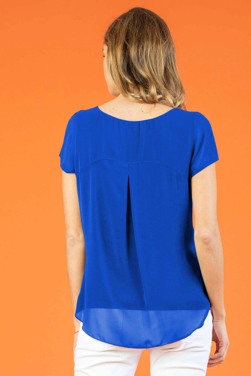 The Georgie Chiffon Maternity Blouse in Royal Blue - Seven Women Maternity