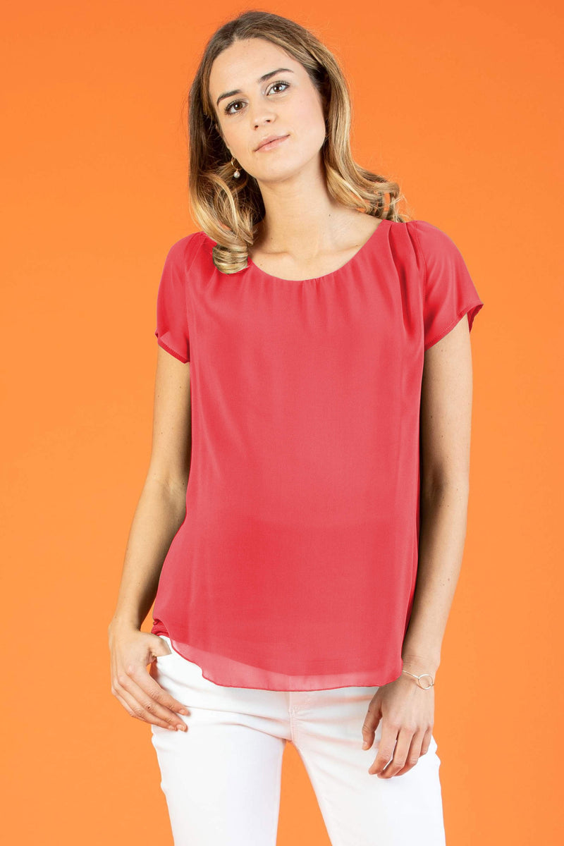 The Georgie Chiffon Maternity Blouse in Coral - Seven Women Maternity