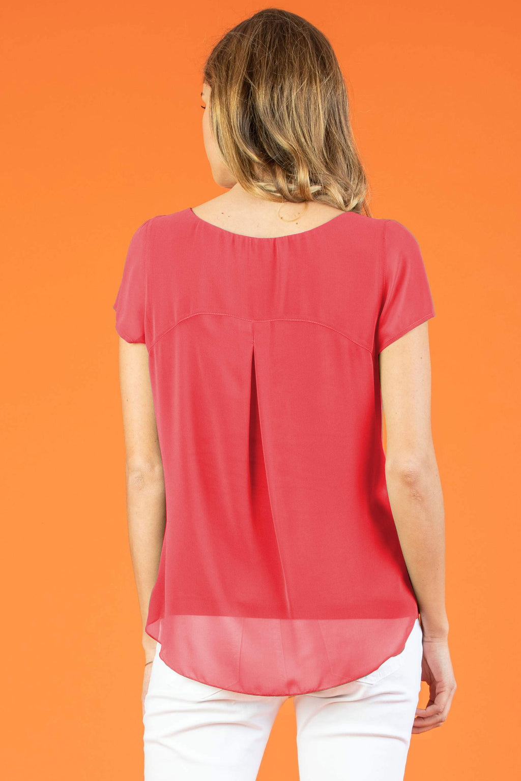 The Georgie Chiffon Maternity Blouse in Coral