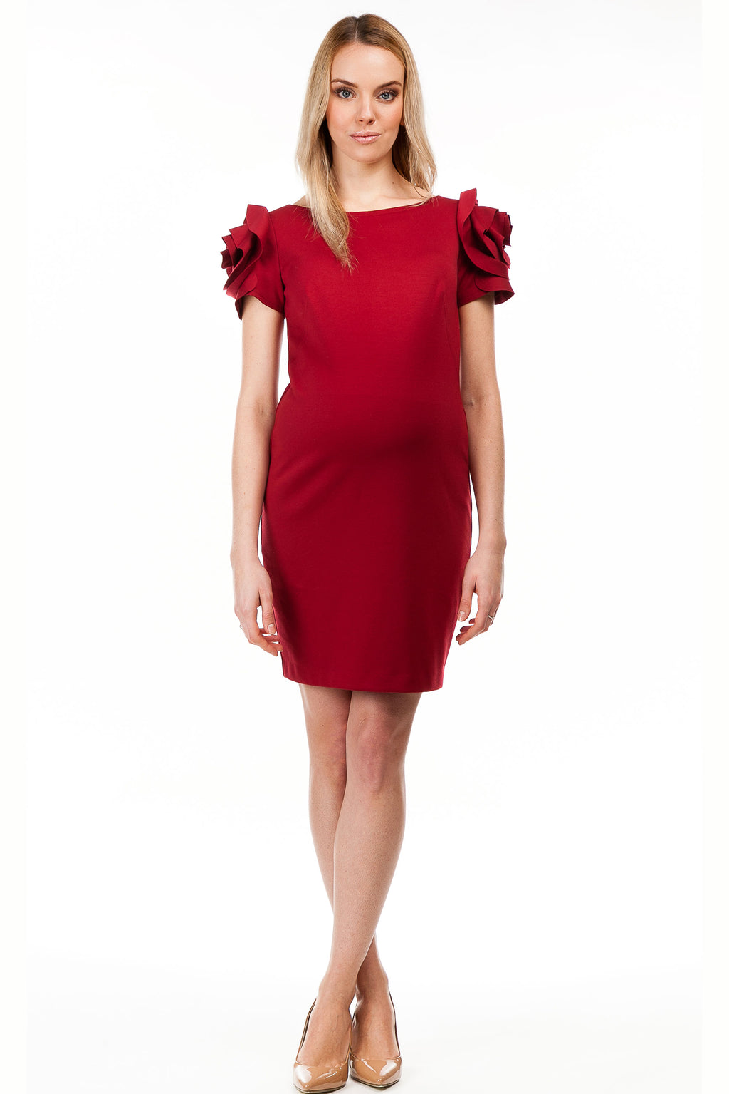 Pietro Brunelli Milano Flower Sleeve Maternity Dress in Strawberry