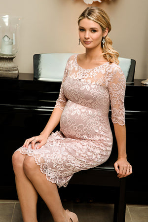 Tiffany Rose Amelia Maternity Stretch Lace Dress in Vintage Rose - Seven Women Maternity