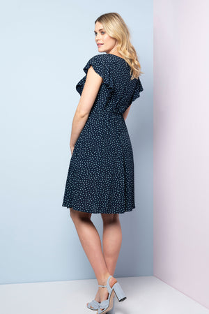 Seraphine Acacia Teal Dot Maternity & Nursing Dress - Seven Women Maternity