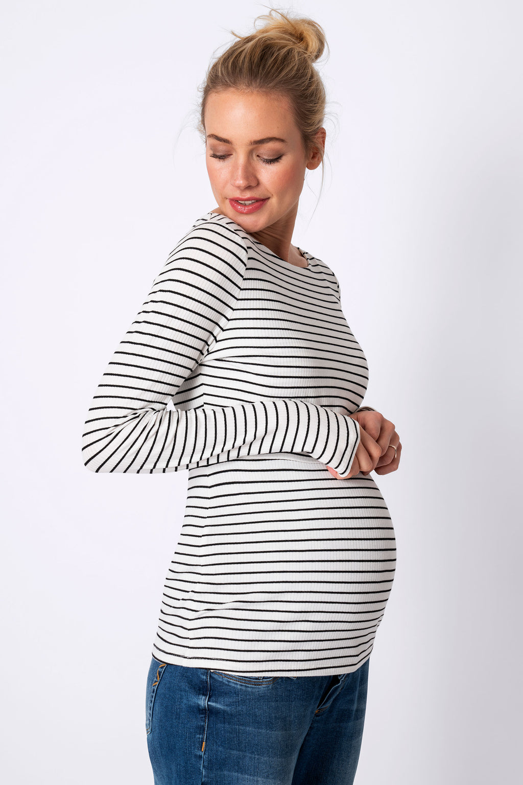 Anne White w/Black stripe Maternity Nursing Top