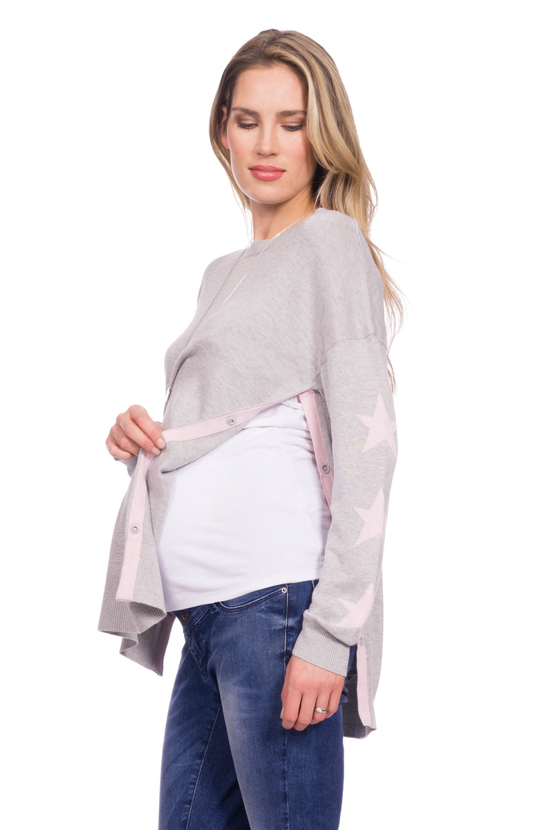 Seraphine Antonella Pink Gray & Blush Maternity Nursing Sweater - Seven Women Maternity