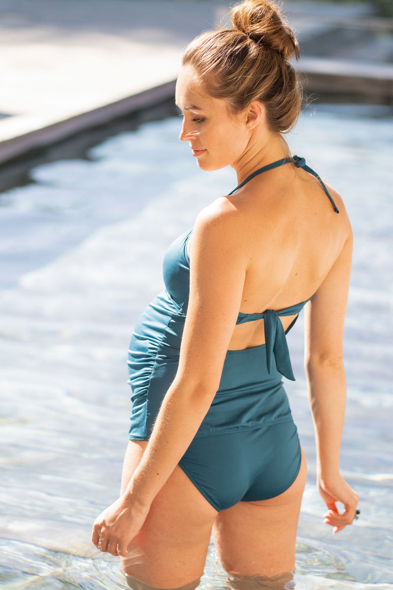 Seraphine Bahama Knotted Front Maternity Tankini - Seven Women Maternity