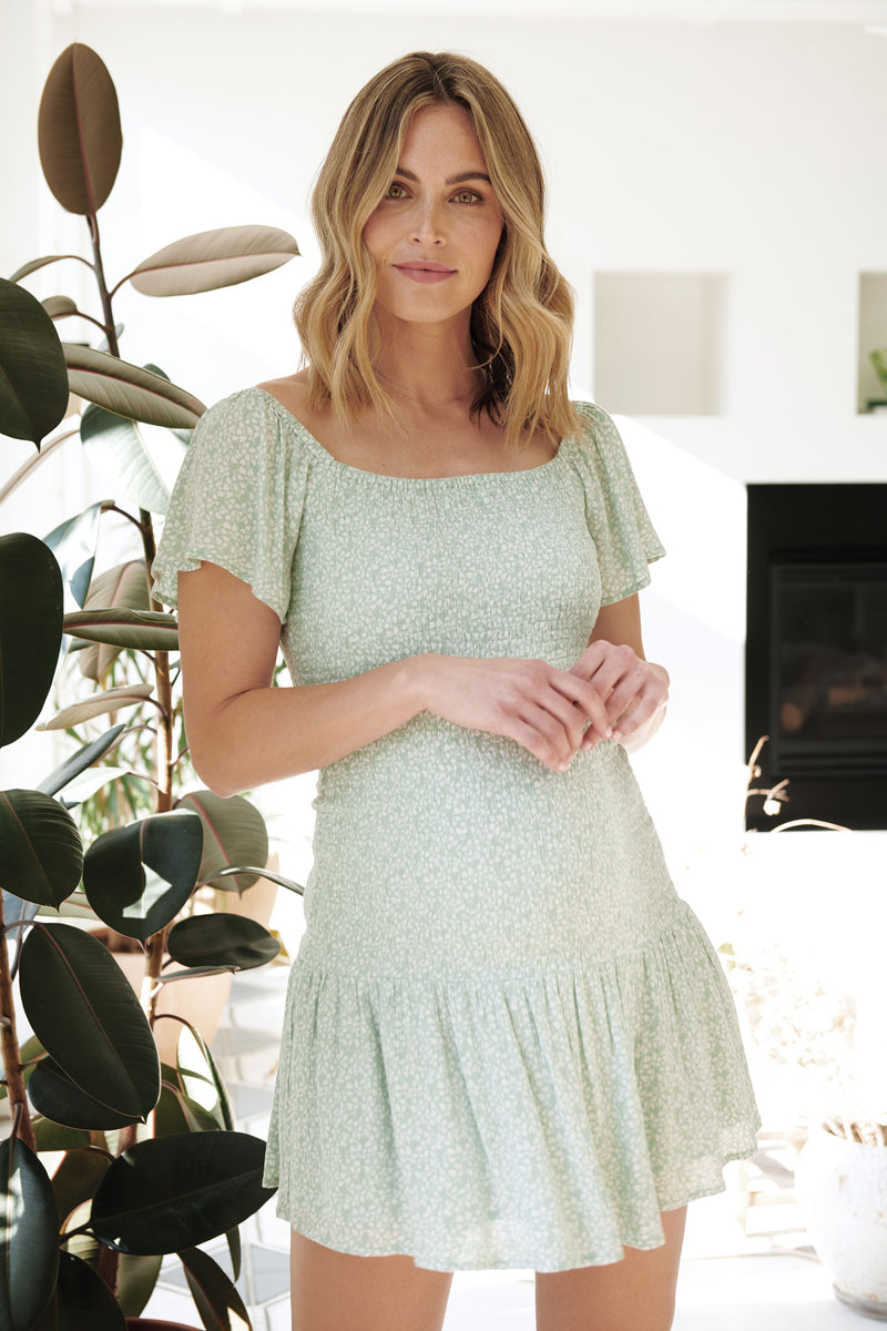 Betsie Shirred Pistachio / White Maternity Dress Ripe