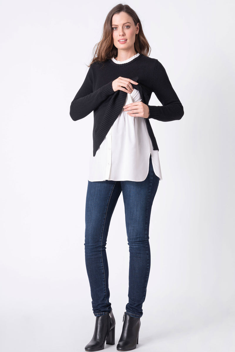 Seraphine Maternity & Nursing Sweater with Mock Shirt - Seven Women Maternity