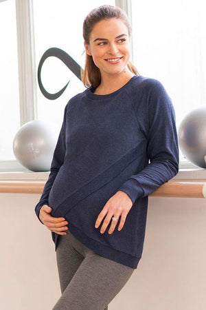 Sybil Crossover Maternity & Nursing Sweater in Bluemarl - Seven Women Maternity