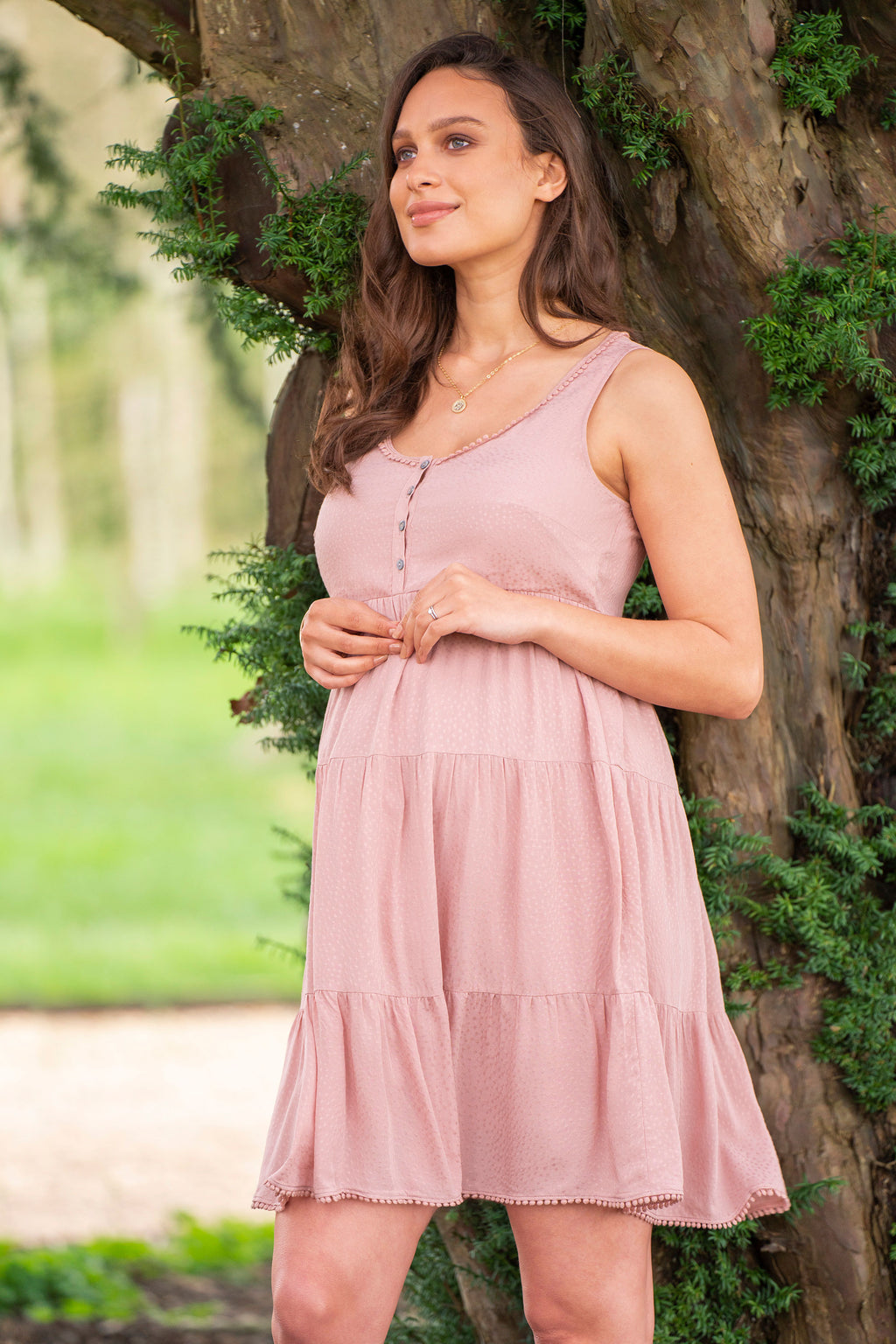 Brandi Tiered Blush Maternity Nursing Dress Seraphine