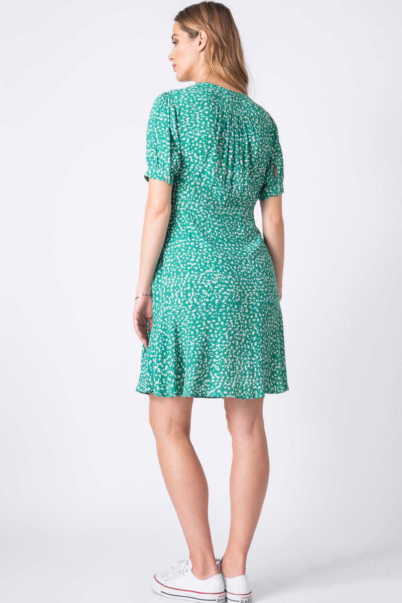 The Daffodil Green Printed Maternity & Nursing Dress
