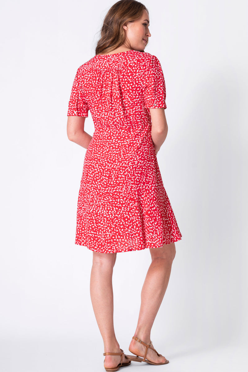 The Daffodil Red Print Maternity & Nursing Dress Seraphine